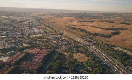 Aerial view of Rivas-Vaciamadrid city and A3 motorway from Madrid to Valencia, Spain