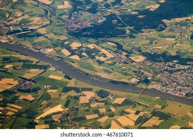 Aerial view at river