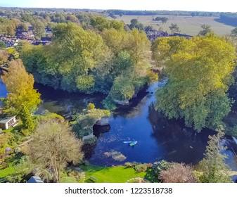 Aerial view of River Avon in Warwick, Warwickshire, United Kingdom