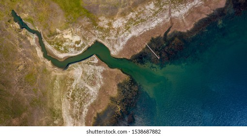 Aerial view of river bank