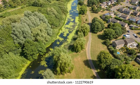 Aerial view of river Colne in Colchester, Essex, UK