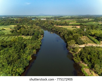 Aerial view of river in countryside. Top view of forest. Thailand