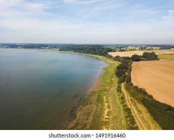 Aerial view of the River Deben and the surrounding countryside fields. A stereotypical view of the suffolk countryside