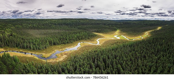 Aerial View Of River Deep In Northern Ontario