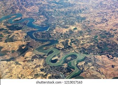 Aerial view of river Ebro in Aragon region in Spain. Province of Zaragoza.