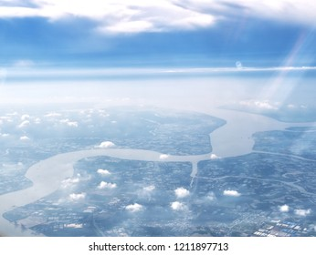Aerial view of river in Ho Chi Minh City