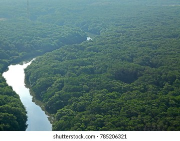 Aerial view of river in the jungles of Veracruz