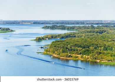 Aerial view to the River with Motorboats