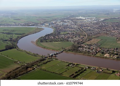 aerial view of The River Ouse and Goole town, Yorkshire, UK