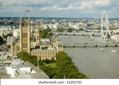 Aerial view of the River Thames at Westminster with the Houses of Parliament on the right hand side and the bridges of Westminster, Hungerford and Waterloo.