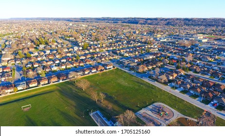 Aerial view of Riverdale East Park in the Stoney Creek neighbourhood in Hamilton, Ontario.