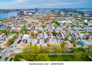 Aerial view of Riverside Park and Locust Point, in Baltimore, Maryland.