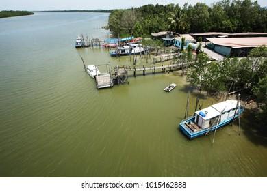 aerial view of riverside in Sarawak, Malaysia