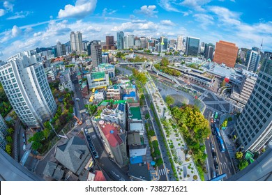 Aerial view of The road 7017 and architecture in Seoul Station, Seoul City South Korea.