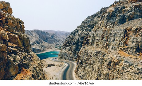 Aerial view of Road between mountains in Musandam Peninsula, Oman