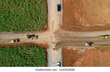 Aerial view road construction site machine
