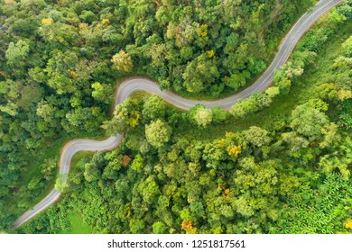 Aerial view Road curves up the mountain in Thailand