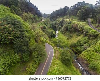 Aerial view of the road to Hana at west Wailua iki Falls along the Hana Highway on Maui Hawaii