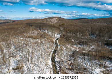 Aerial view of a road in Harriman State Park in winter