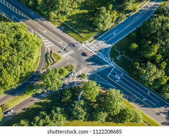 Aerial view of the road intersection in the forest