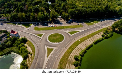 Aerial view of the road junction.