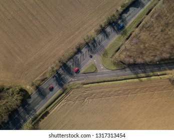 Aerial view of a road junction in the UK