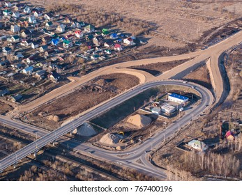 Aerial view of road junction under construction
