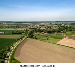 Aerial view of road to Klundert (The Netherlands) by drone