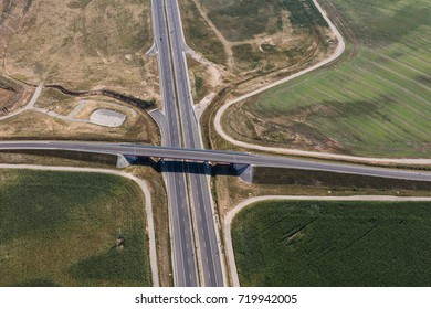 aerial view of the road near Nysa town in Poland