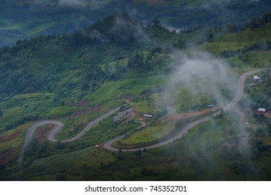 Aerial view of road on mountains.