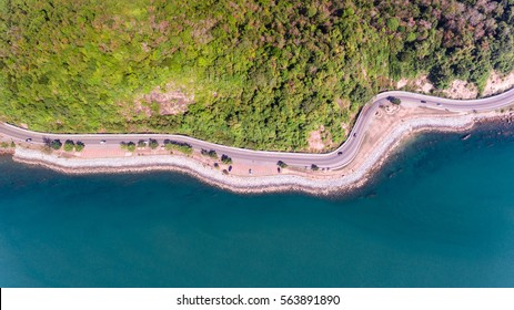 Aerial view of road on sea coastal.