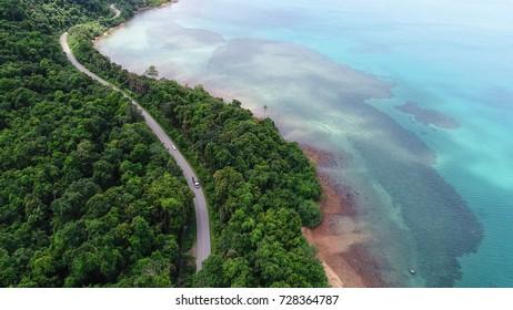 Aerial view  road on sea shore island
