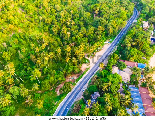 Aerial view road side in the forest with many tree for travel and vacation
