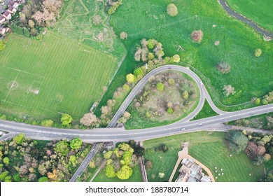 Aerial view of a road system in rural England