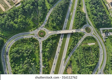 aerial view of roadway in suburban baltimore maryland