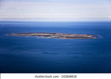 Aerial view of Robben Island in Cape Town, where former South African president, Nelson Mandela was held as a political prisoner for 27 years.