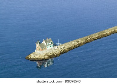Aerial view of Rockland Lighthouse at end of jetty from the Samoset Resort, Maine