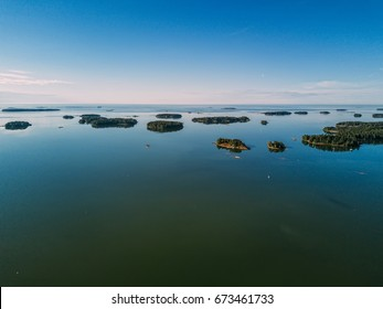 Aerial view of Rocky island in a fjord of Sweden. Stockholm archipelago