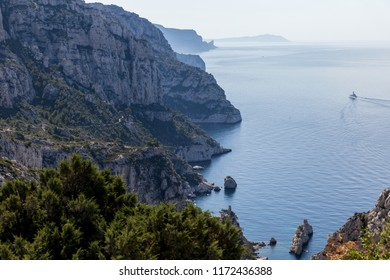 aerial view of rocky mountains and scenic sea coast in Calanques de Marseille (Massif des Calanques), provence, france