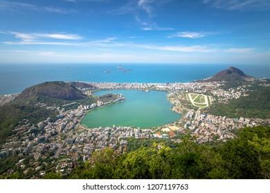 Aerial view of Rodrigo de Freitas Lagoon and Two Brothers Hill (Morro Dois Irmaos) - Rio de Janeiro, Brazil