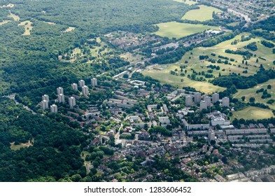 Aerial view of the Roehampton district of West London bordering the green spaces of Wimbledon Common and Richmond Park.