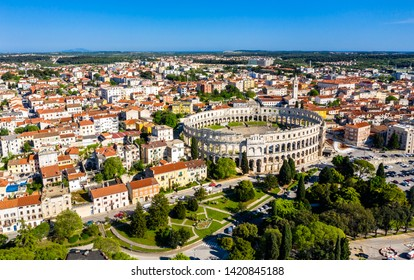 Aerial view of the Roman Amphitheatre in Pula, Croatia