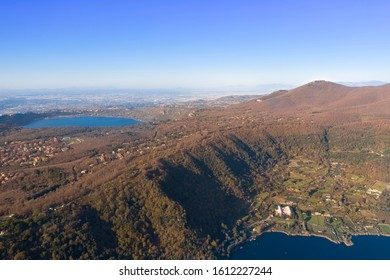 aerial view of the Roman castles with the lake of Nemi and of Albano Lazio. Rome Lazio Italy