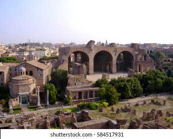 An aerial view of the Roman Forum in Rome, Italy