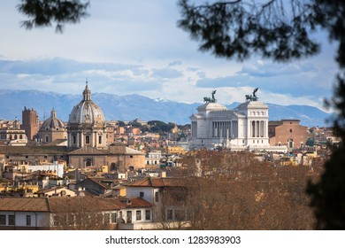 Aerial view of the Rome city with bueautiful architecture, Italy