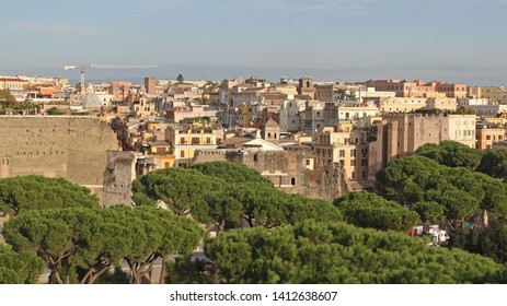 Aerial View of Rome Cityscape Italy Afternoon