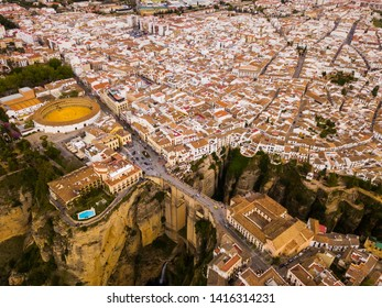 Aerial view of Ronda landscape and buildings with Puente Nuevo Bridge, Andalusia, Spain