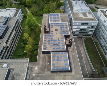 Aerial view of roof with photovoltaic panels