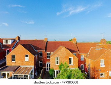 Aerial view of roof tops of British housing development