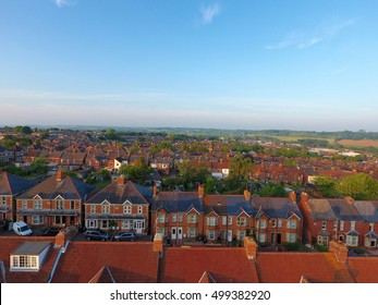 Aerial view of  roof tops of British housing development in Yeovil